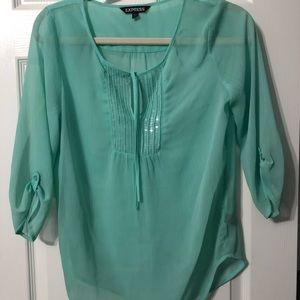 Express Aqua Blouse Dress Top Shirt Women's XS